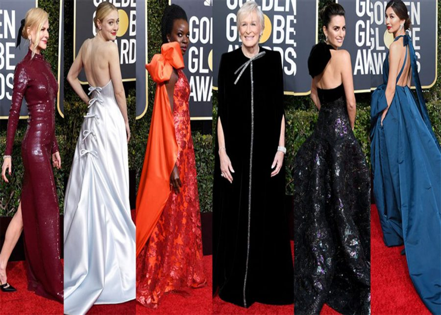 Women in Hollywood walking the red carpet.