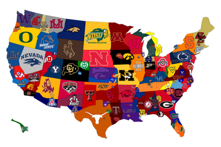 A map of the United States with different college teams on it.