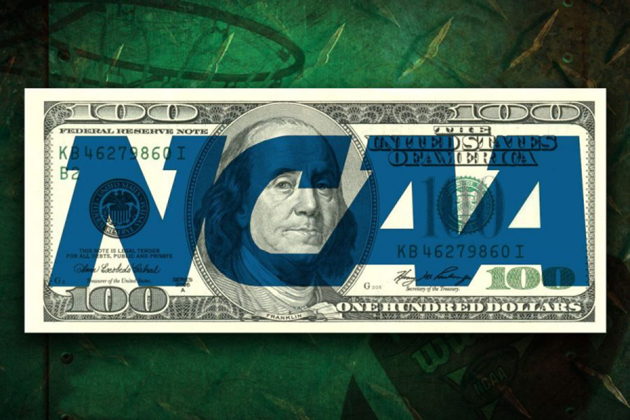 The NCAA logo on a hundred dollar bill with a basketball goal in the background.