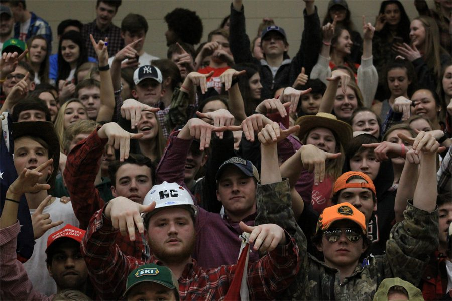 The student section putting L's down as the fourth quarter comes to a close.