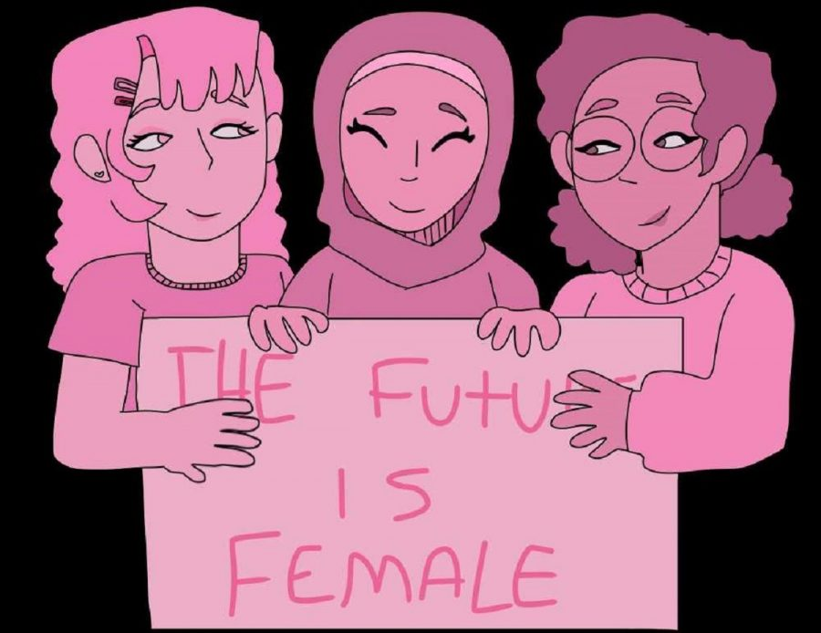 Illustration of a diverse group of women holding a sign with the popular phrase,