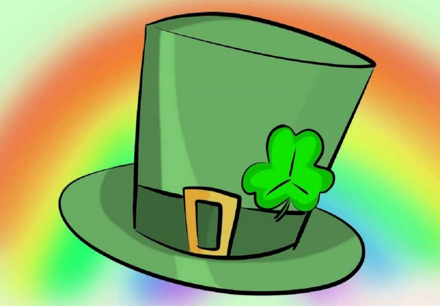 A St. Patrick's Day hat animated by a staff member. It has a shamrock, a rainbow, and is mainly the color green.