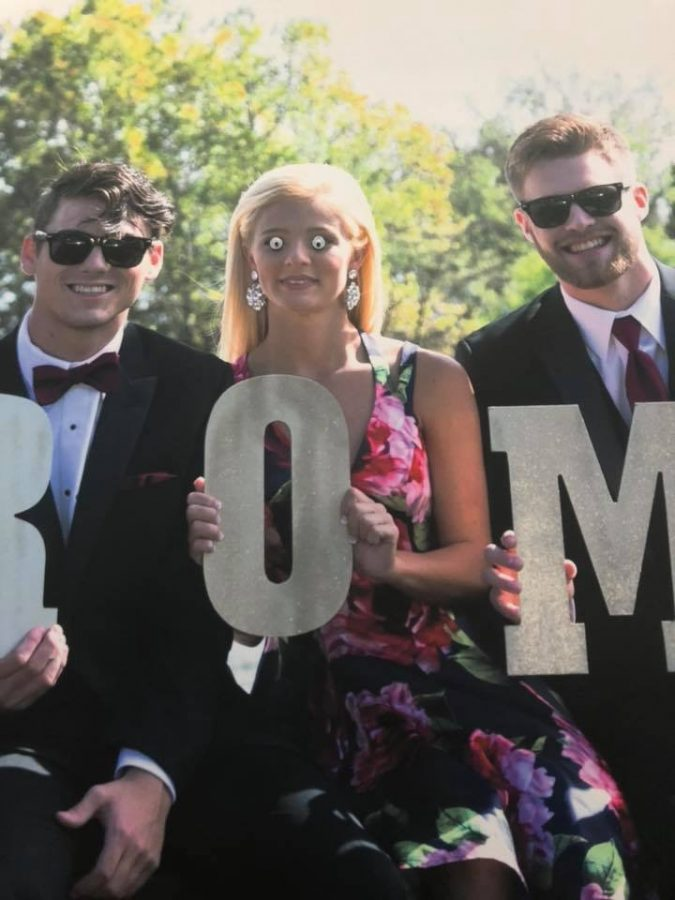 A prom poster was adorned with a little something extra.