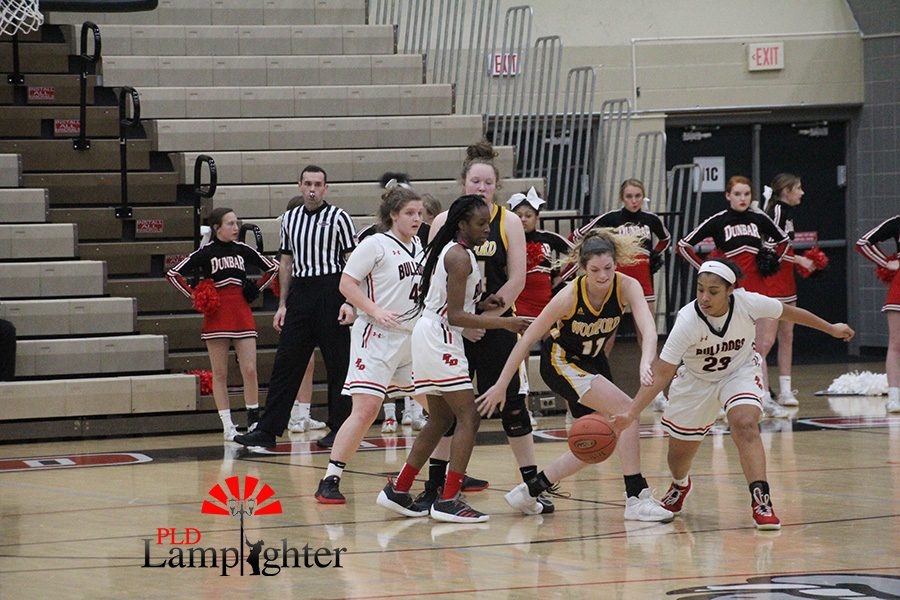#23 Tanaya Cecil steals the ball from her Woodford opponent.