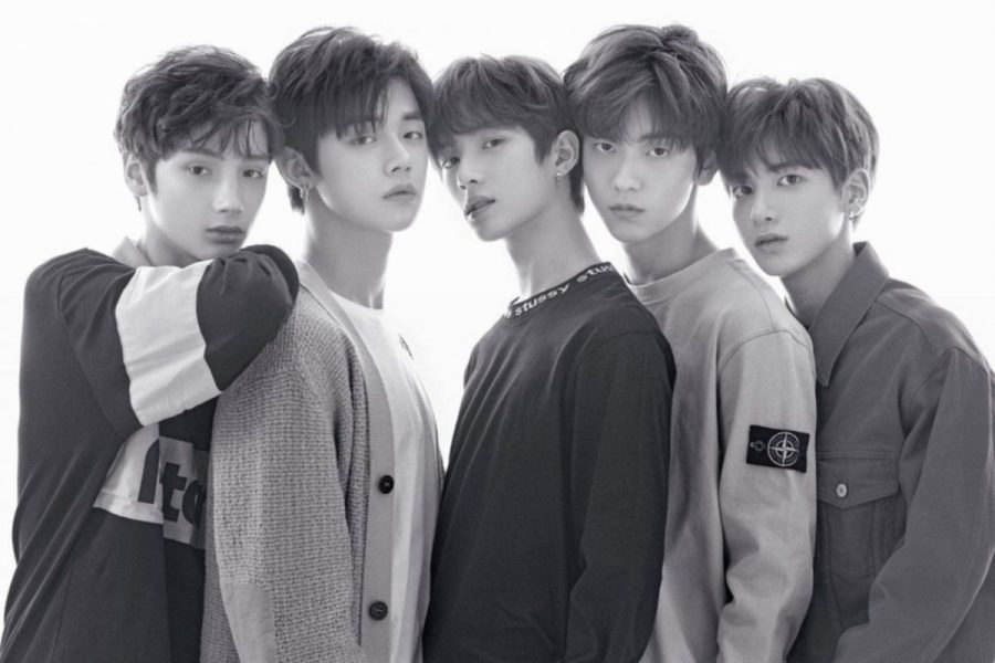 The five members of TXT from left to right: Huening Kai, Yeonjun, Soobin, Beomgyu, and Taehyun.