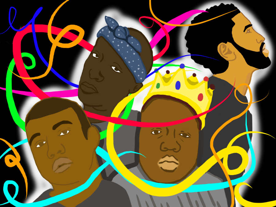 A few of the most well-known hip hop artists; 2Pac, Biggie, Big Sean, and Kanye West.