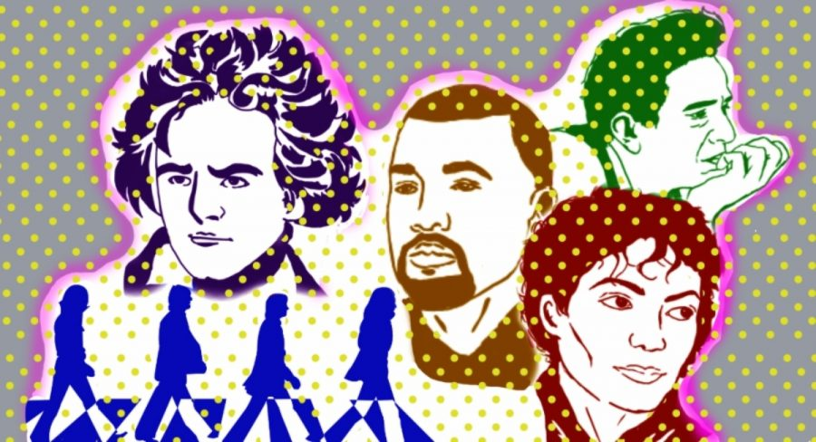 Silhouettes of Beethoven, The Beatles, Kanye West, Michael Jackson and Johnny Cash.