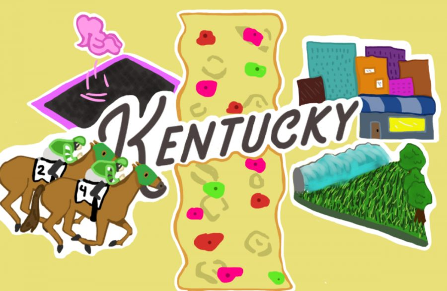 A cartoon depicting the many things to do in Lexington that are talked about in the article.