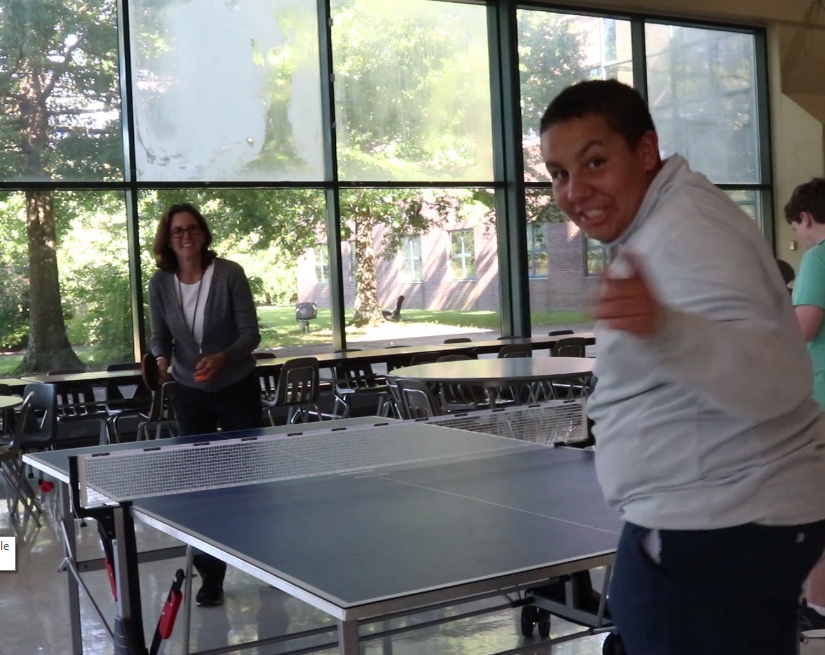 Club Spotlight host, Ben Rains, challenged his mom, Principal Betsy Rains, to a ping pong challenge.