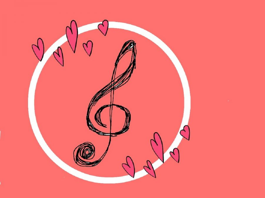 A sketch of a trebel clef drawn by cartoonist Emily Hacker.