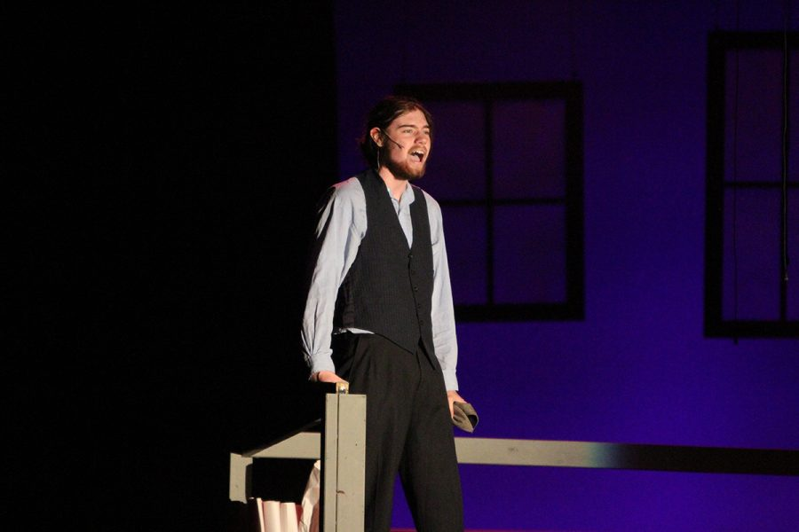 Senior Max Taylor performing as the lead character, Jack Kelly.