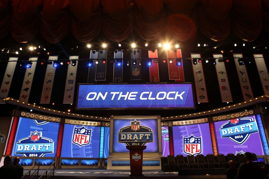 The 2014 NFL draft site set up with the screen reading on the clock