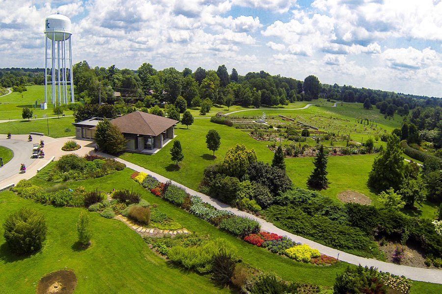 This is a drone shot of Lexington's Arboretum.