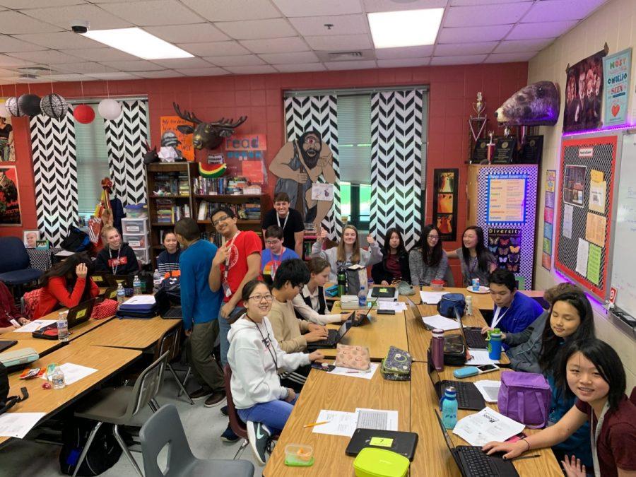 Freshmen in Ms. Durham's A3 class.