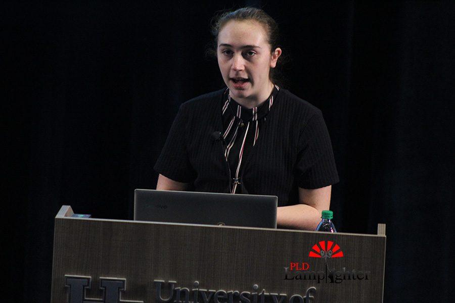 Anne Elizabeth former, a junior at layfayette, delivers her presentation