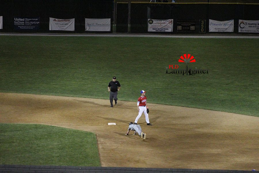 #7, Matt Hall dives for second base to prevent from getting out.