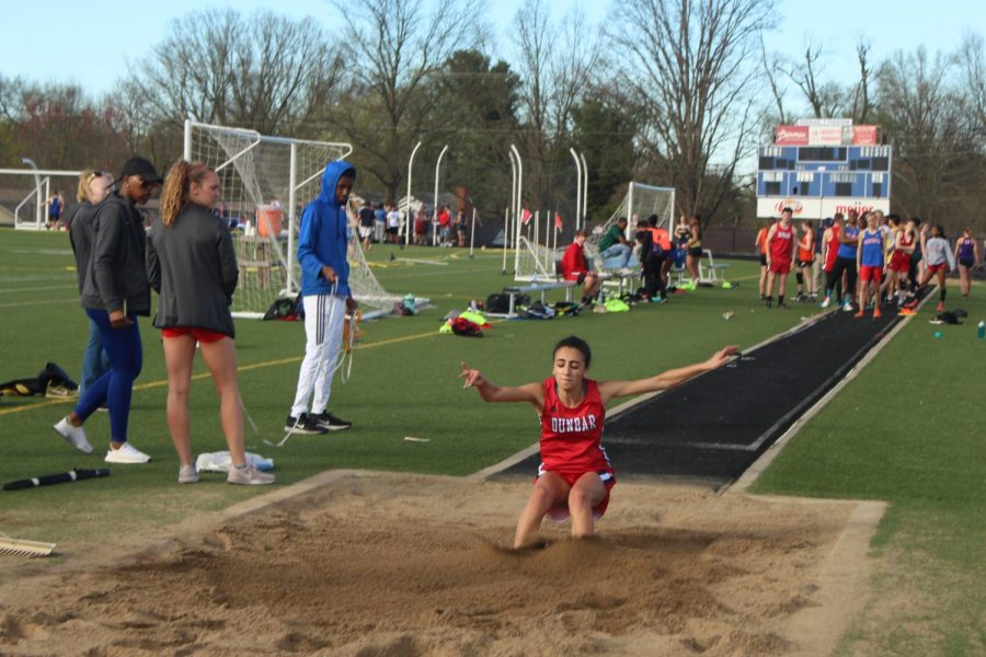 Layla Dabit competing in long jump for Dunbar