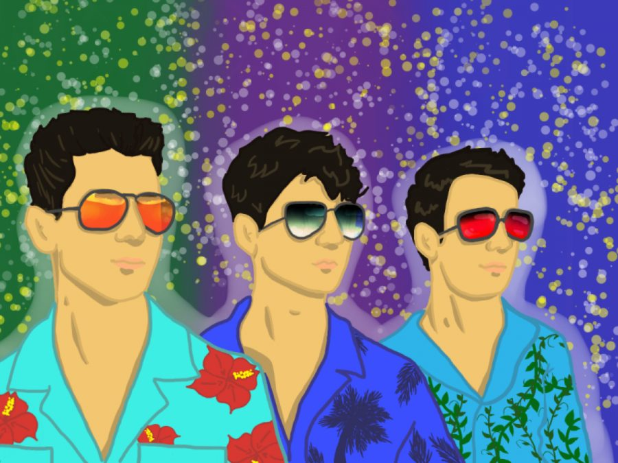 Nick, Joe, and Kevin Jonas in summer attire for their cover art for their new song