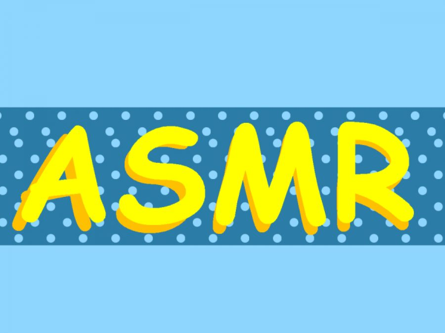 The term ASMR is displayed in bright yellow in front of a blue polka dot background.