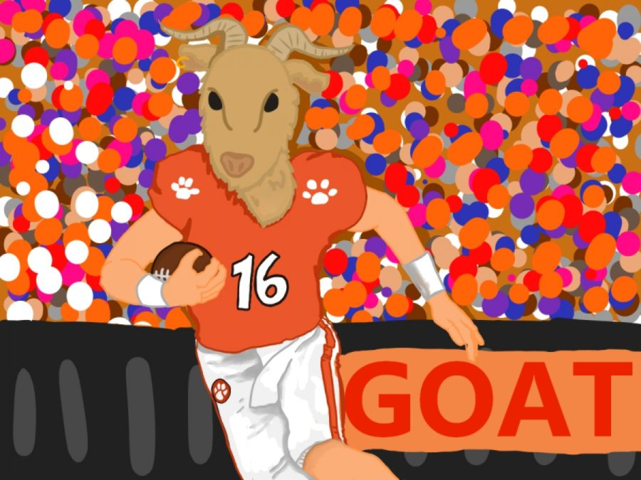 Clemson quarterback Trevor Lawrence depicted as a goat to show his stats as a player.