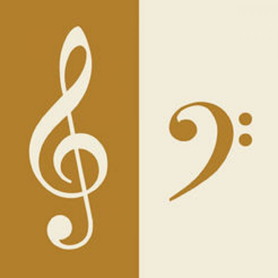 On the left is the symbol representing a treble clef and on the right is the symbol representing a bass clef.