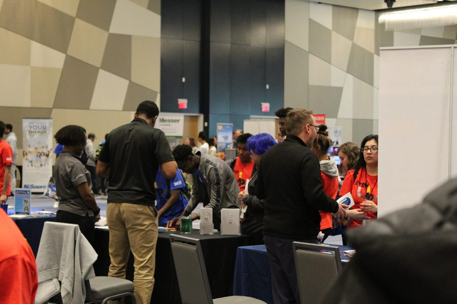 PLD students visit booths on career and college field their interested in.