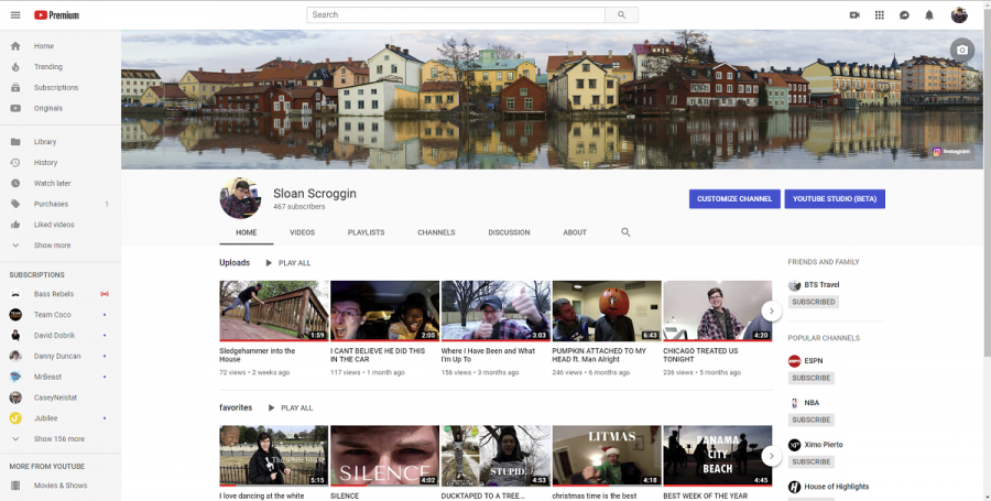 Sloan's YouTube channel homepage. This is where all of his videos appear.