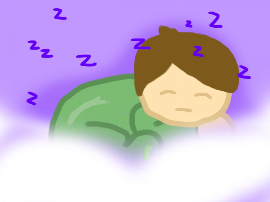 A sleeping child appears amongst the clouds.