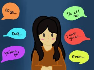 Staff Cartoonist Emily Hacker illustrated the thoughts that students commonly have when responding to peer pressure.