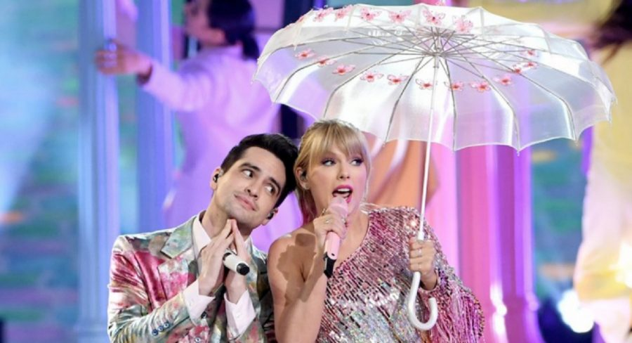 Taylor Swift and Brendon Urie during their 2019 Billboard Music Awards performance.