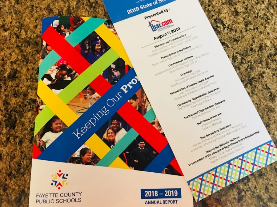 The 2018-19 Annual Report pamphlet and itinerary from the 2019 State of Schools Address.