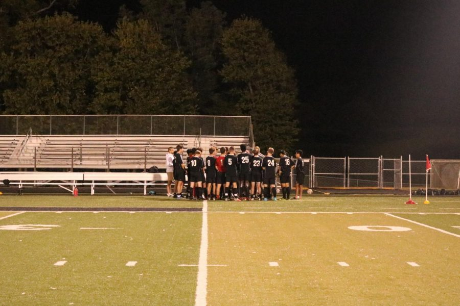 The team huddle right after the 4-2 win tonight against the Eagles.