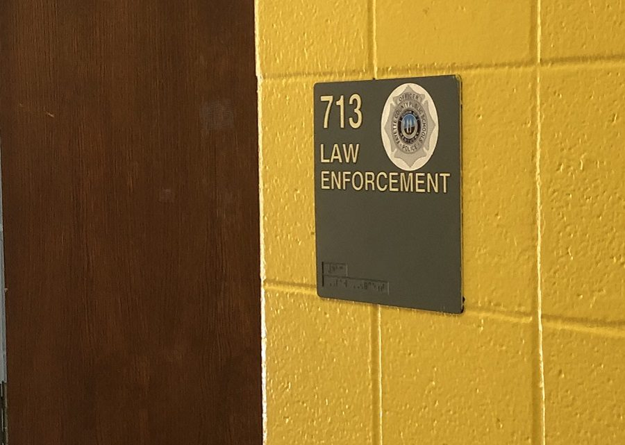 One of the law enforcement offices in the school where the officers stay during the school day.