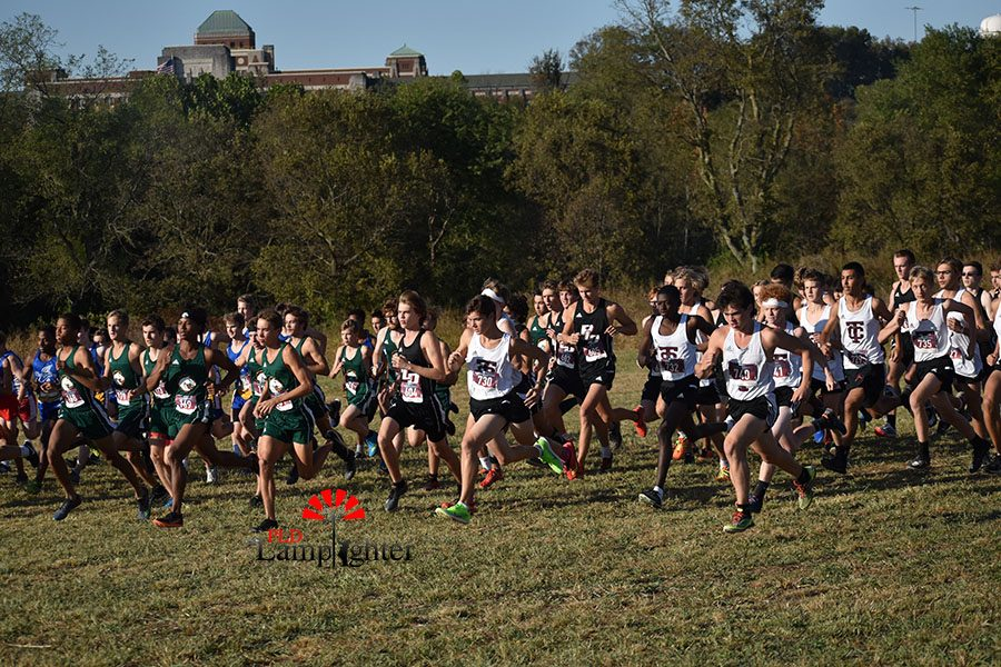 The run out from the starting line of the high school boys' cross country race that Dunbar ended up fishing fourth as a team.