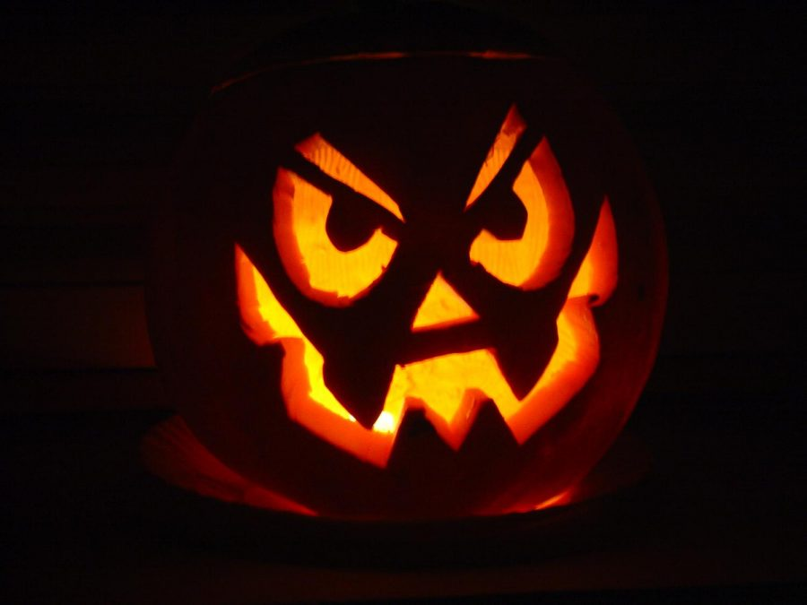 Many people carve pumpkins on Halloween, this one has a creepy smile.