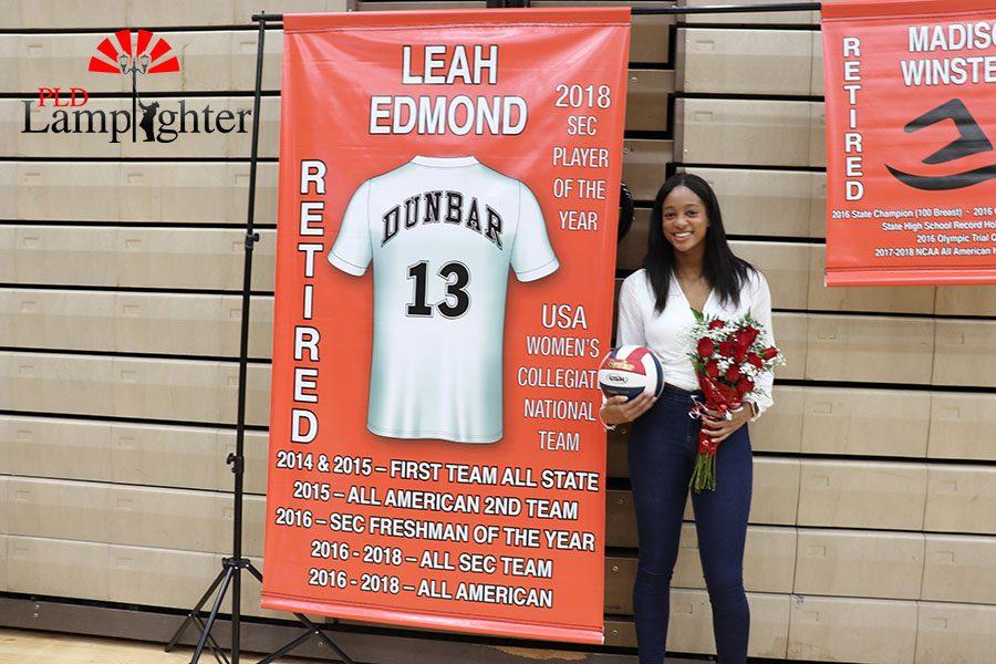 A Dunbar alum, Leah Edmond, retired her jersey last night.