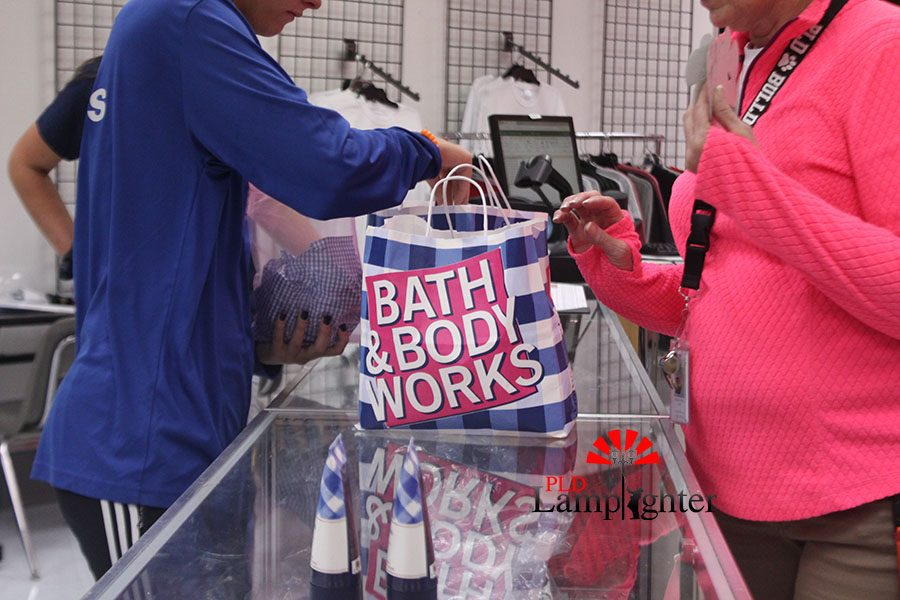 Students in the Booktique filled the bags with goods including things they bought from Bath & Body Works.