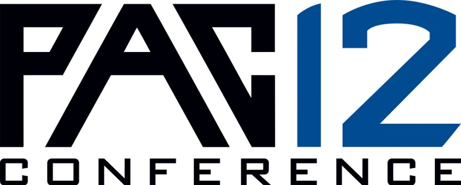 The logo of the Pac 12 Conference along with scripted letters