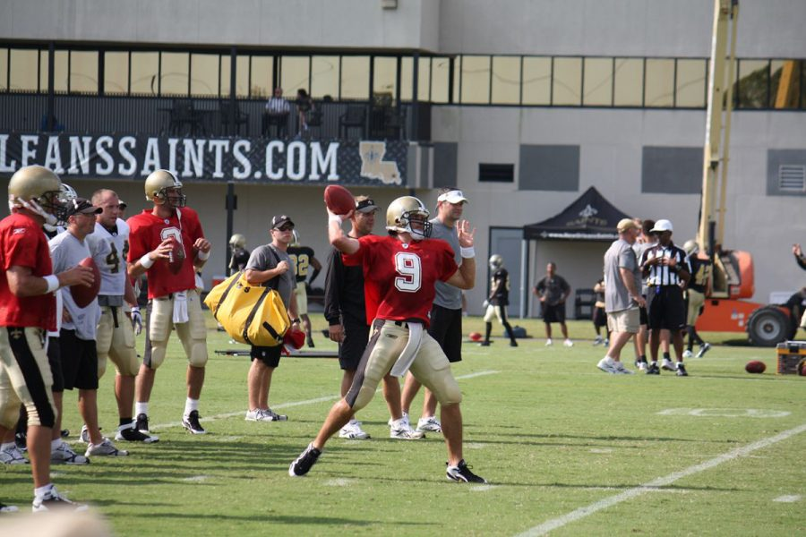 Drew Brees showing out at the New Orleans Saints training camp.