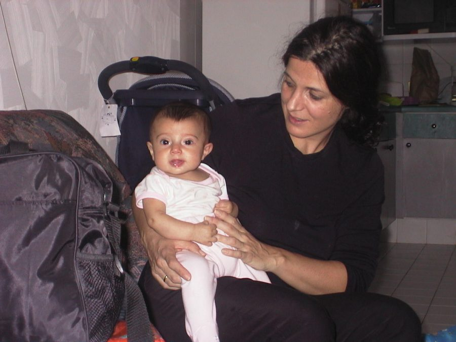 Three-month old Victoria with her mom Marcela.