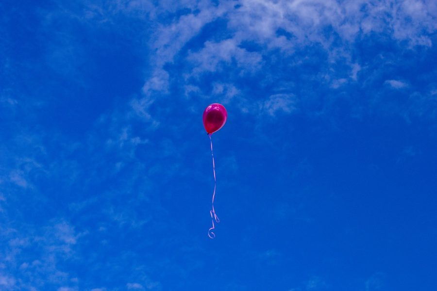 Scary balloon flying in air