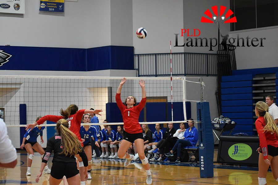 #1 Jane Durbin jumps, ready to set the ball