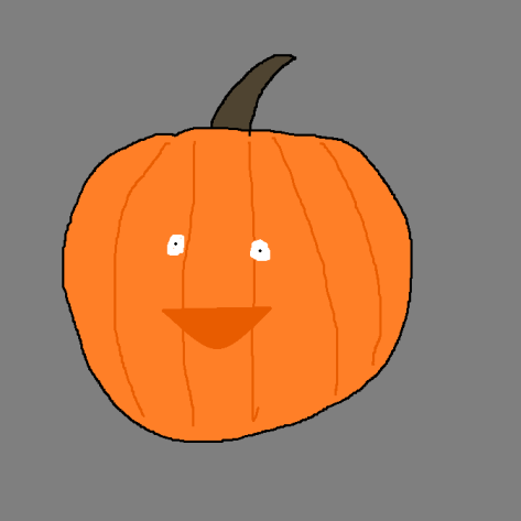 A cartoon of a carved Halloween pumpkin.