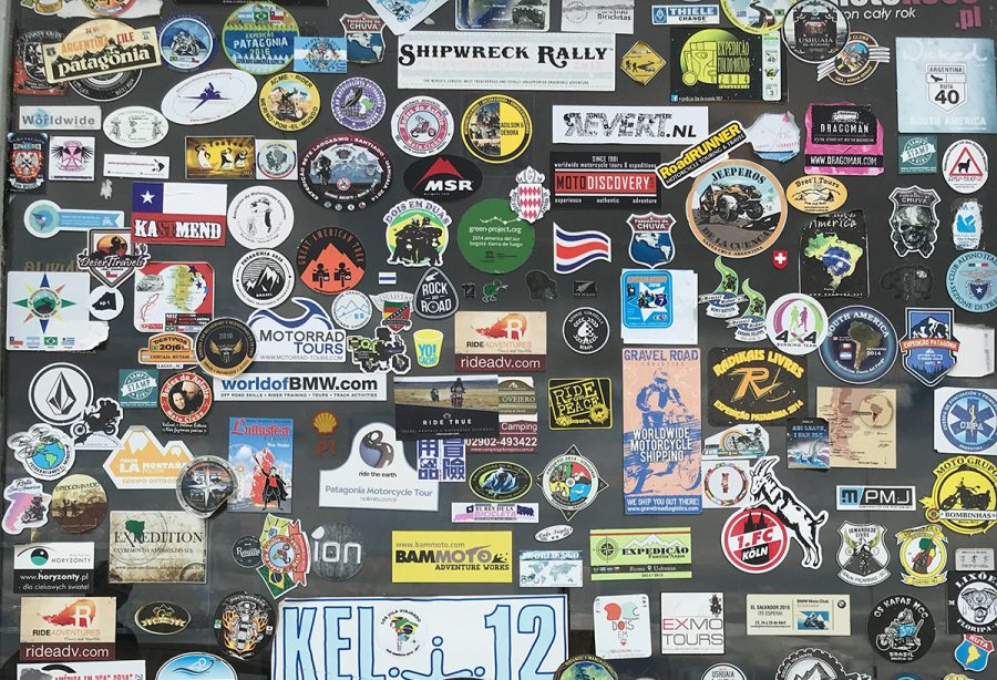 Hundreds of stickers decorate a blank canvas