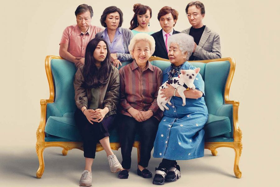 The Farewell cast, bleakly looking at the happy grandmother.