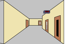 The hallways of Dunbar as illustrated by MS Paint