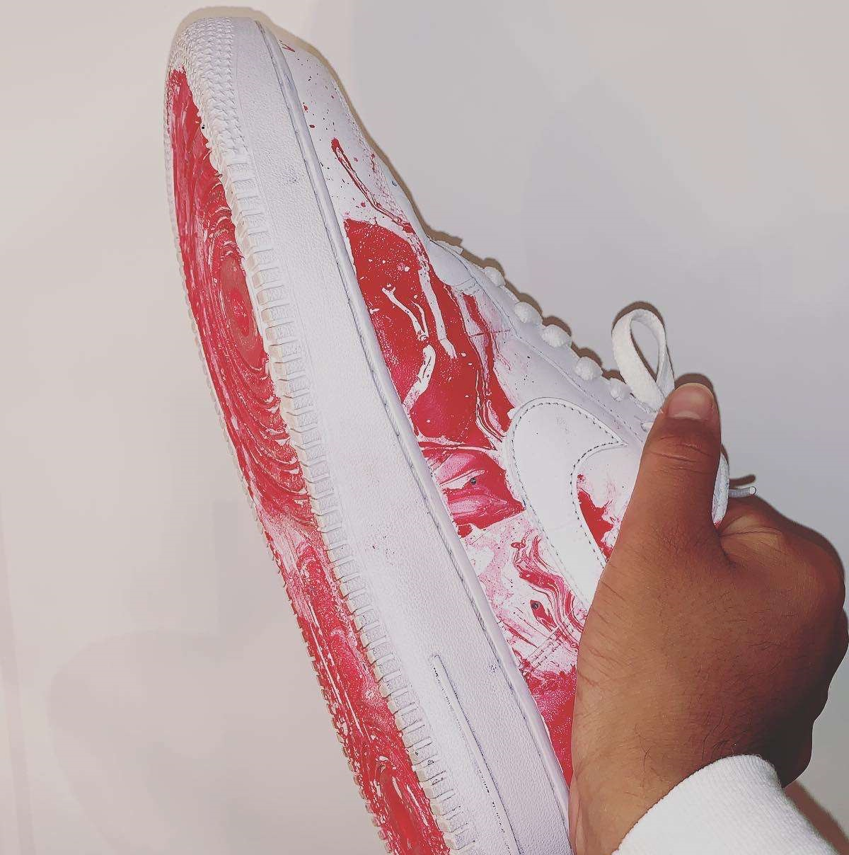 Air Force One customized by Dunbar junior Andrew Herrera. He makes money designing sneakers for resale.