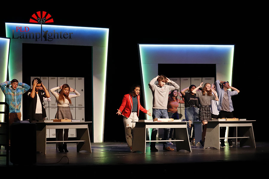 The cast performing Oh Biology.