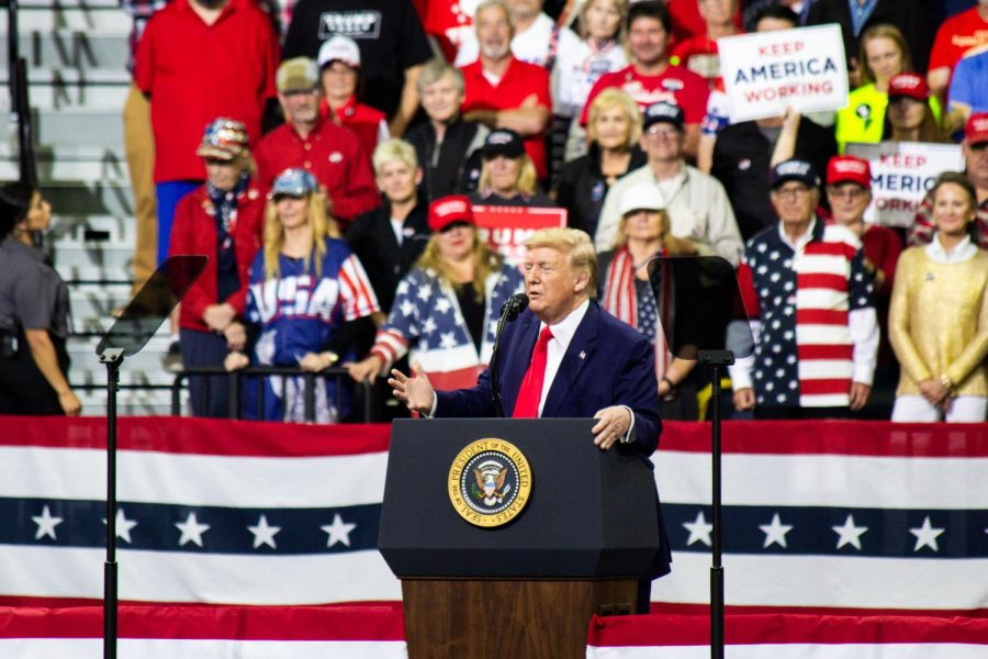 President Donald Trump attending a campaign rally in Minneapolis on October 10, 2019.