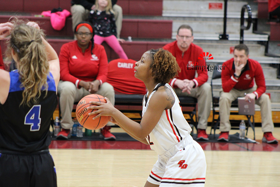 DelTarria Jackson (#12) narrows her focus on making a free throw after being fouled.